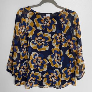 Cabi Lydia Navy Floral Blouse 3426